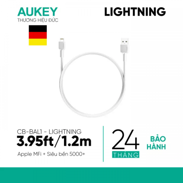 Cáp sạc Lightning Aukey CB-BAL1 chuẩn MFi (1)