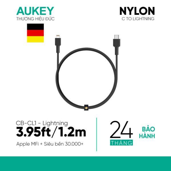 Cáp AUKEY Lightning chuẩn MFI 1.2M bọc sợi Nylon (Braided Nylon) CB-AL1 (1)