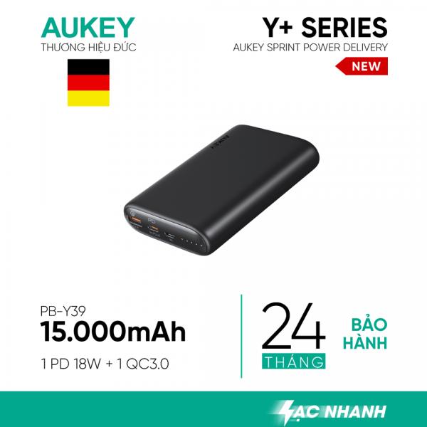 Pin sạc AUKEY PB-Y39 15.000mAh lõi pin Tesla, sạc nhanh 3.0 VÀ PD 18W(1)
